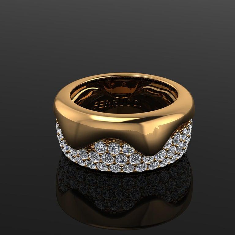 2.30 Carat White Diamond Melting Away Pave Ring in 18 Karat Yellow Gold For Sale 3