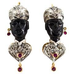 "2.30 Carat White Diamond Ruby Ebony Yellow Gold ""Moor of Venice"" Earrings"