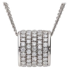 2.30 Carat White GSI Diamonds 18 Karat White Gold 5 Rows Round Necklace
