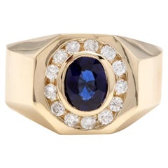 2.30 Carat Natural Diamond and Blue Sapphire 14K Solid Yellow Gold Men's Ring