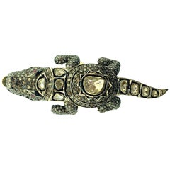 2.30 ct Old Mine Cut Diamond Alligator Ring Oxidized Sterling Silver, 14KT Gold