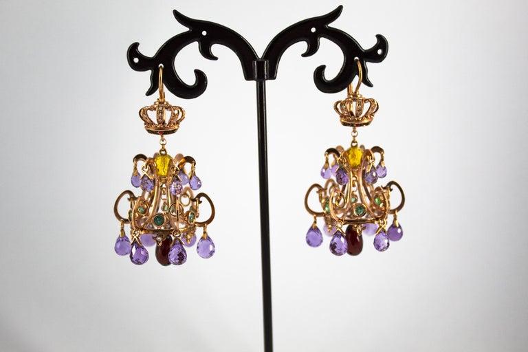 Renaissance 23.00 Carat Amethyst Citrine Garnet Emerald White Diamond Yellow Gold Earrings For Sale