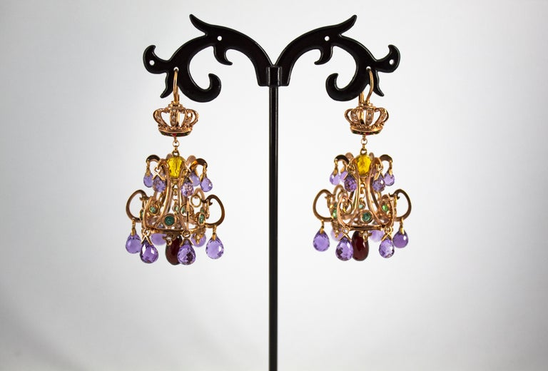 23.00 Carat Amethyst Citrine Garnet Emerald White Diamond Yellow Gold Earrings In New Condition For Sale In Naples, IT