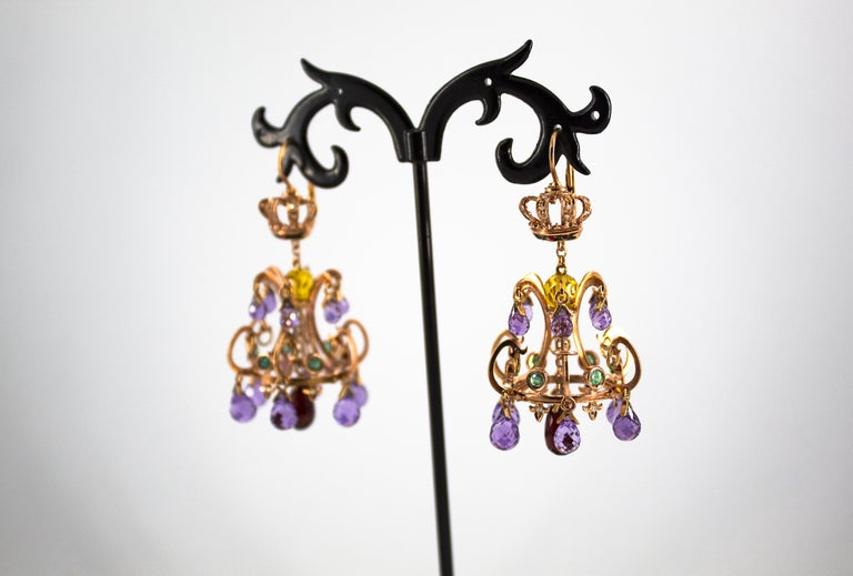 Women's or Men's 23.00 Carat Amethyst Citrine Garnet Emerald White Diamond Yellow Gold Earrings For Sale