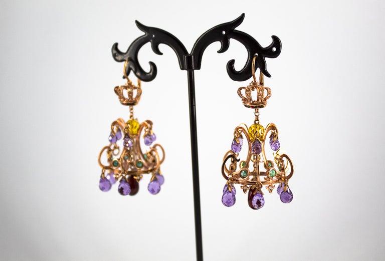 23.00 Carat Amethyst Citrine Garnet Emerald White Diamond Yellow Gold Earrings For Sale 1