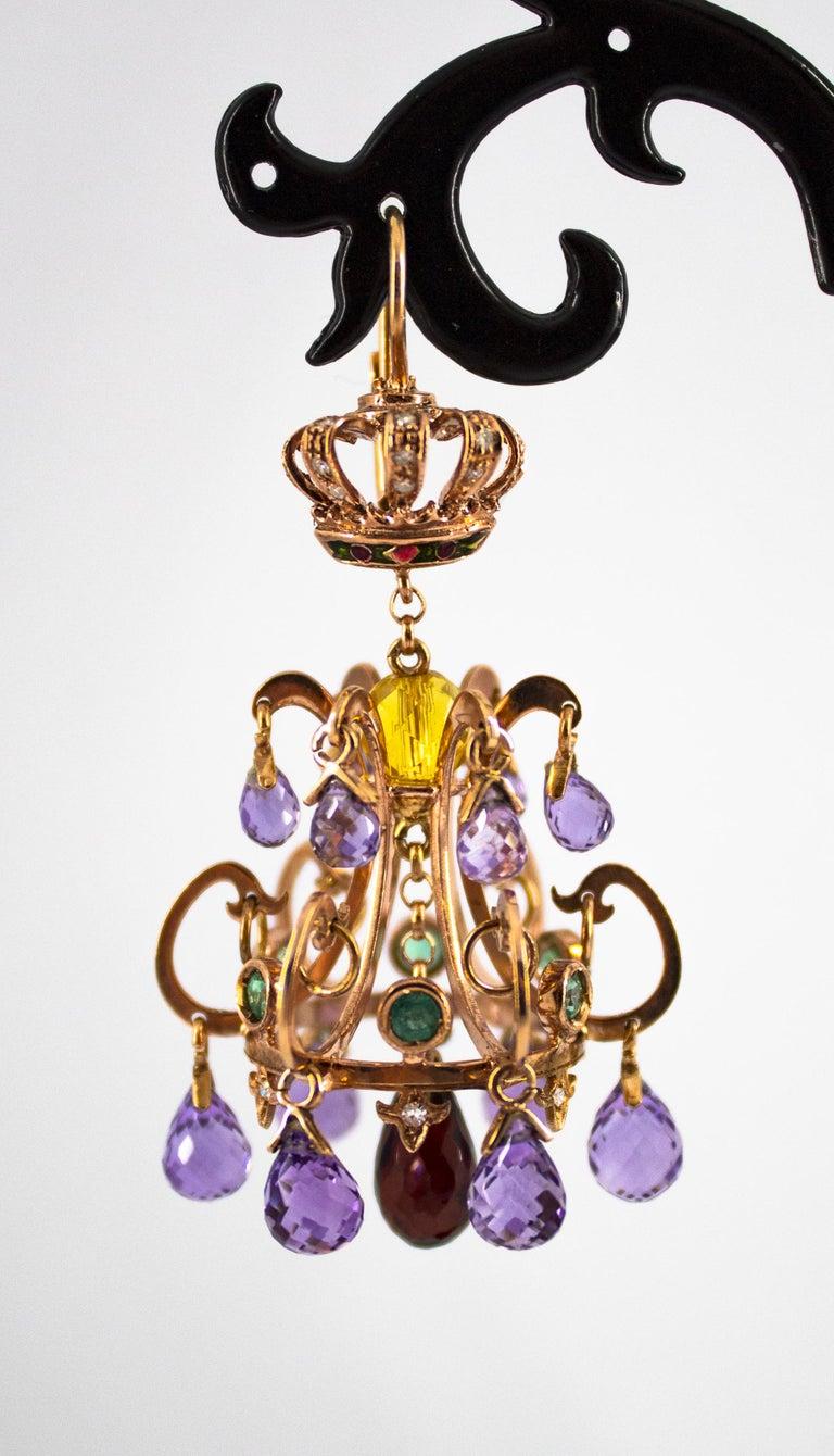 23.00 Carat Amethyst Citrine Garnet Emerald White Diamond Yellow Gold Earrings For Sale 4