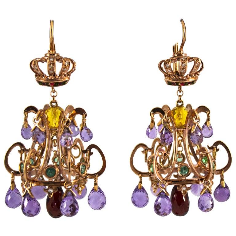 23.00 Carat Amethyst Citrine Garnet Emerald White Diamond Yellow Gold Earrings For Sale