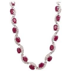 23.04 Carat Ruby Diamond White Gold Necklace