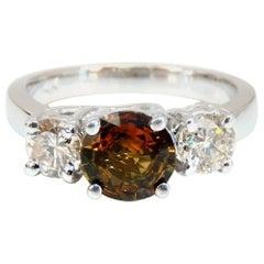 2.30 Carat Natural Fancy Color Sapphire Diamonds Ring 14 Karat Classic Three