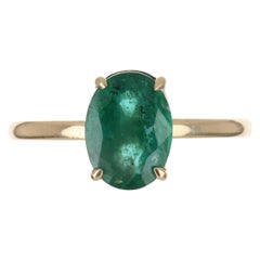 2.30cts 14K 4-Prong Oval Emerald Solitaire Ring