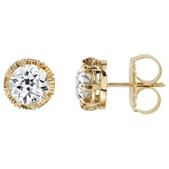 2.30 Carat L/VS1 GIA Certified Old European Cut Diamonds in 18 Karat Gold Studs