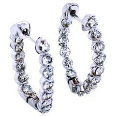 2.31 Carat 14 Karat Gold Shared Prong Set Inside/Outside Oval Hoop Earrings