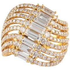 2.31 Carat Baguette and Round Diamond Cocktail Ring 18 Karat Yellow Gold