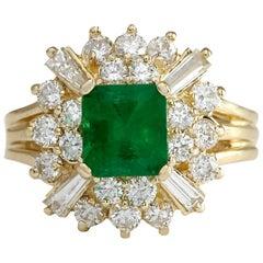 2.31 Carat Natural Emerald 18 Karat Yellow Gold Diamond Ring