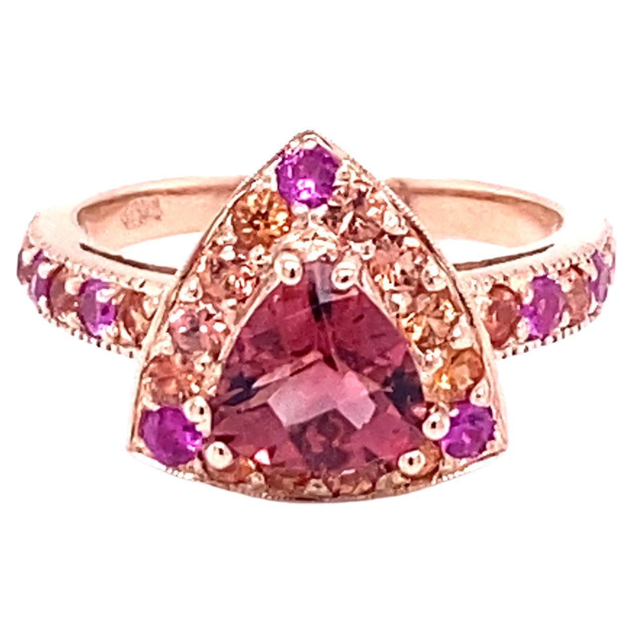 2.31 Carat Tourmaline Sapphire 14 Karat Rose Gold Cocktail Ring