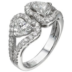 2.31 Carat Twin Heart Shape Diamond 18 Karat White Gold Cocktail Ring