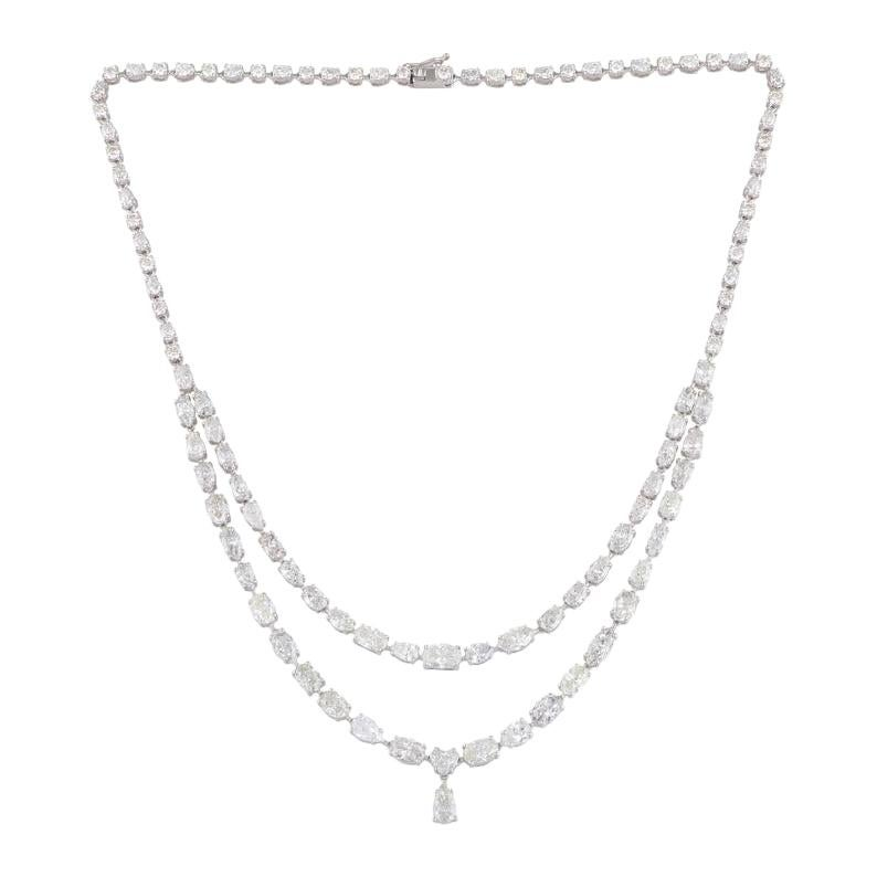 23.10 Carat 18 Karat Gold Multi Strand Diamond Necklace