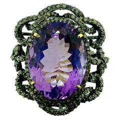 23.10 Carat Amethyst, Diamond Ring in Oxidized Sterling Silver, 14 Karat Gold