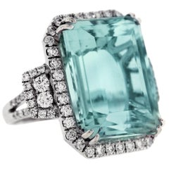 23.10 Carat Emerald Cut Aquamarine Diamonds 18 Karat White Gold Cocktail Ring
