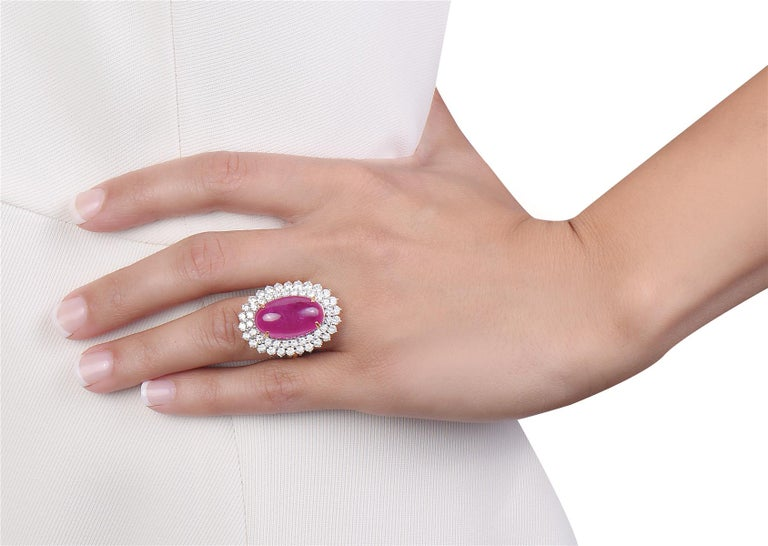 Women's 23.15 Carat Cabochon Ruby and Diamond Cocktail Ring For Sale