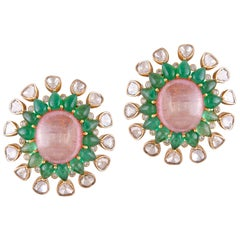 23.16 Carat Morganite Emerald Polki 18 Karat Yellow Gold Stud Earring