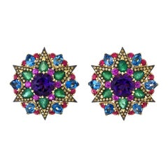 2.32 Carat Amethyst, Emerald and Multi-Colored Star Cluster Earrings