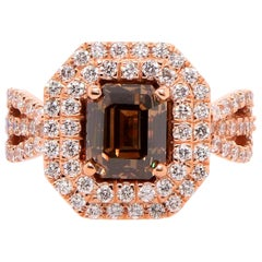 2.32 Carat Cognac Color Diamond and White Diamond Ring