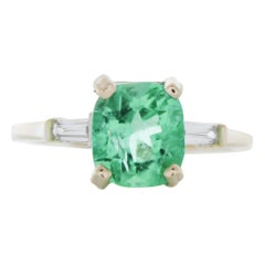 2.32 Carat Cushion Cut Emerald & Diamond Ring in 18k White Gold