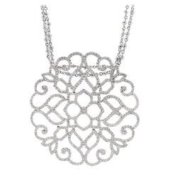 2.32 Carat Diamond Artistic Heart 18 Karat White Gold Pendant Necklace