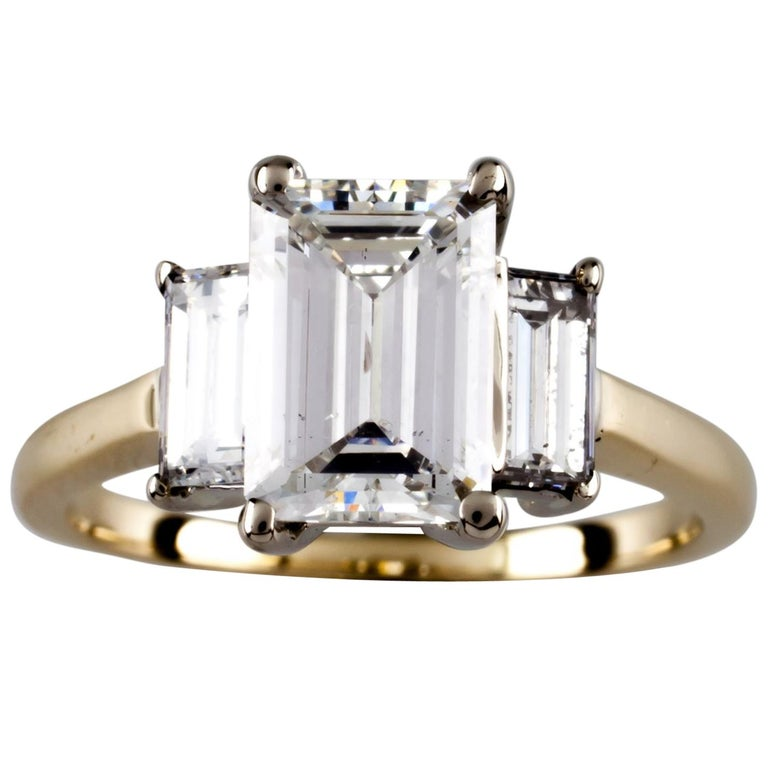 2 32 Carat Emerald Cut Diamond 14 Karat Yellow Gold Three Stone Engagement Ring For Sale At 1stdibs