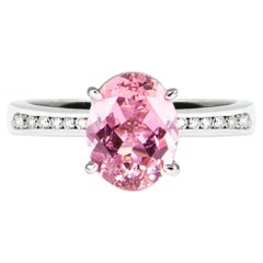 2.32 Carat Oval Pink Tourmaline 4 Claw Solitaire Ring White Gold Natalie Barney
