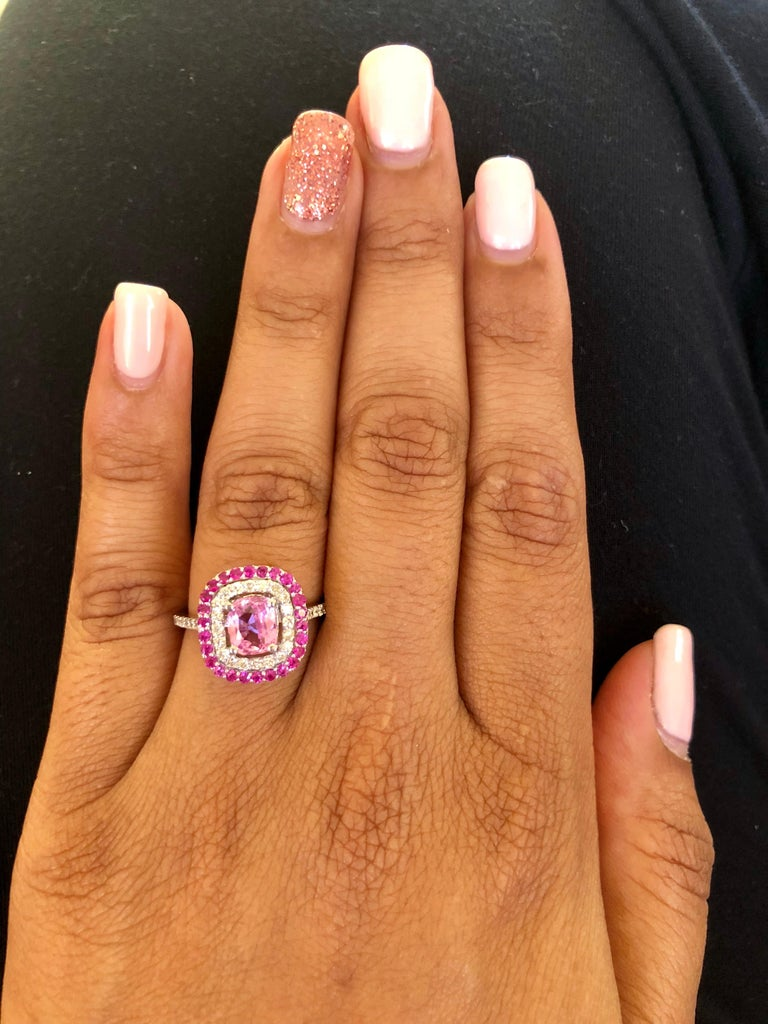 2.32 Carat Cushion Cut Pink Sapphire Diamond 18 Karat White Gold Engagement Ring In New Condition For Sale In San Dimas, CA