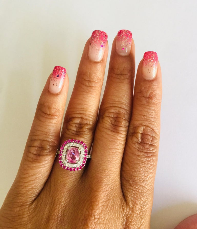 Women's 2.32 Carat Cushion Cut Pink Sapphire Diamond 18 Karat White Gold Engagement Ring For Sale