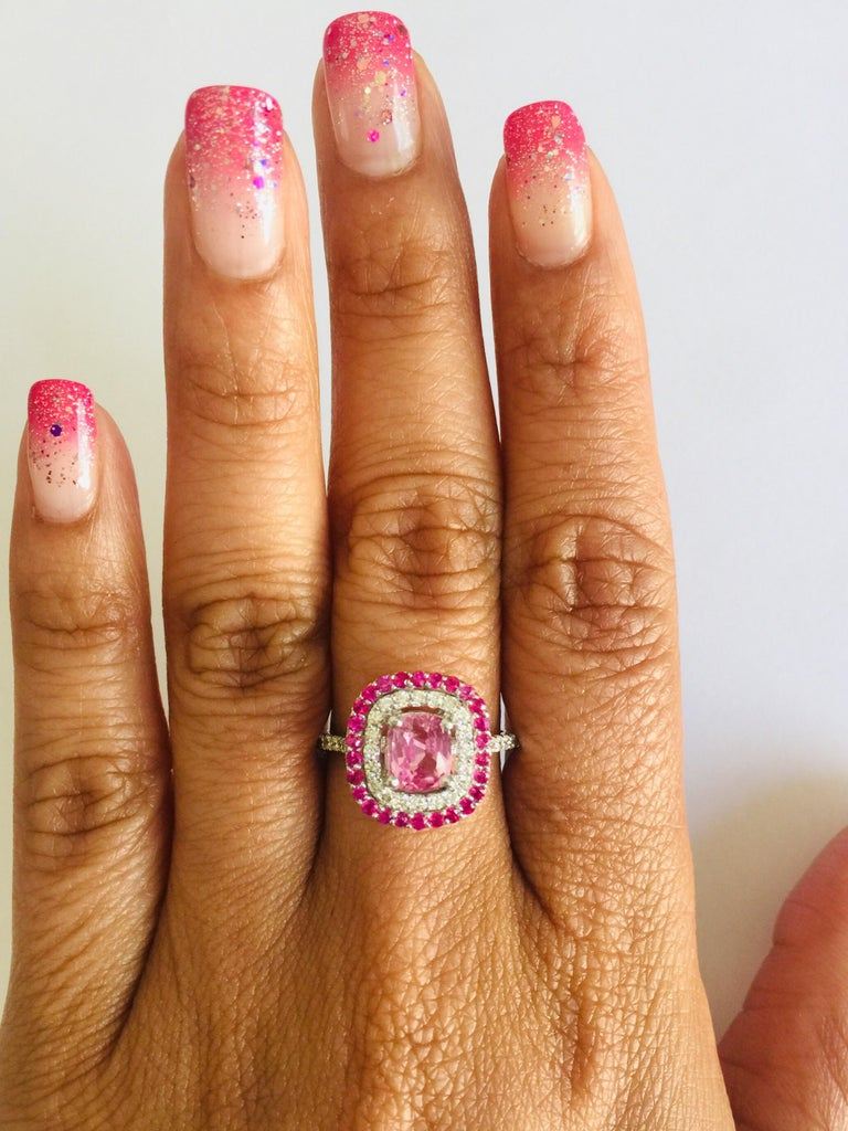 2.32 Carat Cushion Cut Pink Sapphire Diamond 18 Karat White Gold Engagement Ring For Sale 1