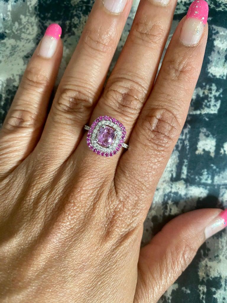 2.32 Carat Cushion Cut Pink Sapphire Diamond 18 Karat White Gold Engagement Ring For Sale 2