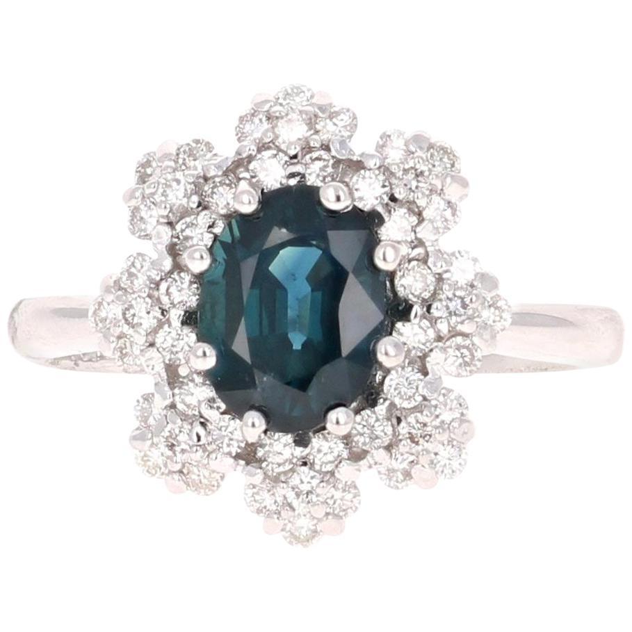 2.32 Carat Sapphire Diamond 18 Karat White Gold Cluster Ring