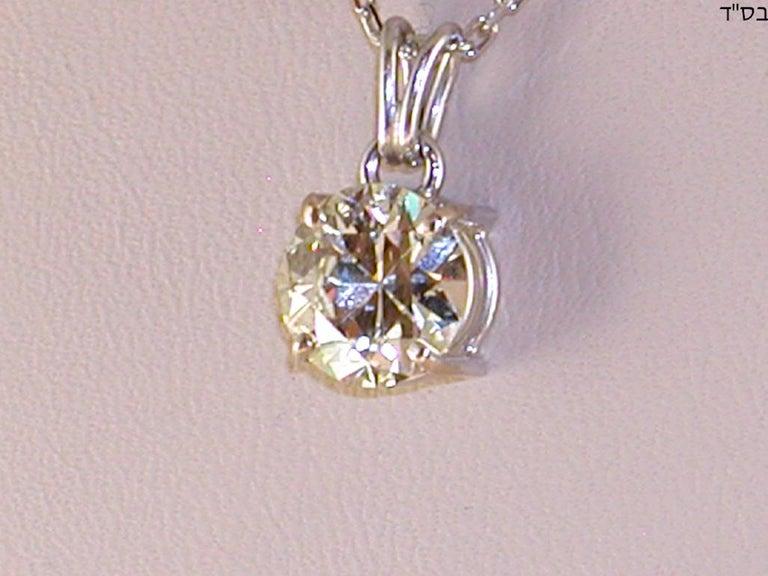 Contemporary 2.32 Carat White Gold Necklace Diamond Solitaire Pendant For Sale