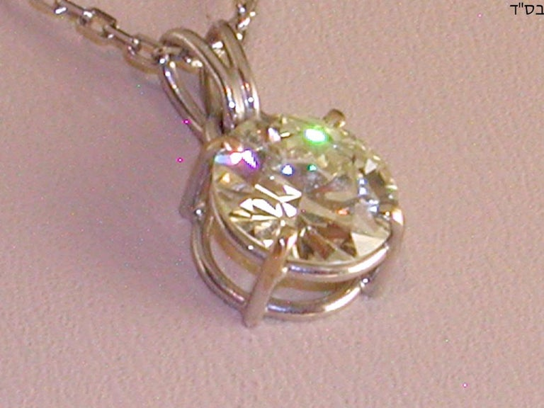 Round Cut 2.32 Carat White Gold Necklace Diamond Solitaire Pendant For Sale
