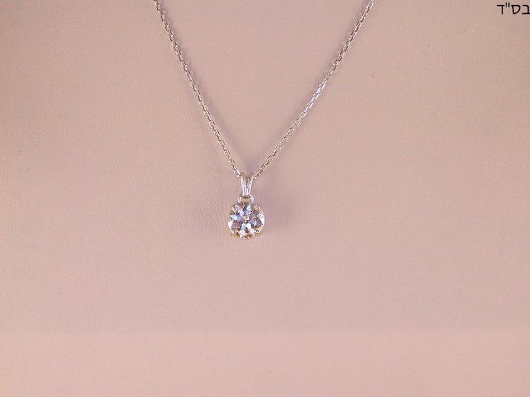Women's 2.32 Carat White Gold Necklace Diamond Solitaire Pendant For Sale