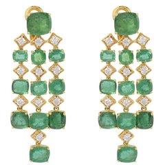 23.20 Carat Emerald Diamond 18 Karat Gold Chandelier Earrings