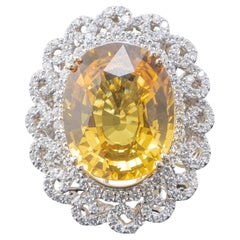 23.21 Carat Yellow Sapphire and Diamond Cocktail Ring