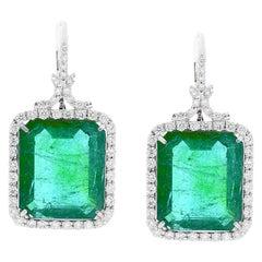 23.24 Carat Green Emerald and Diamond Earrings in 18 Karat White Gold