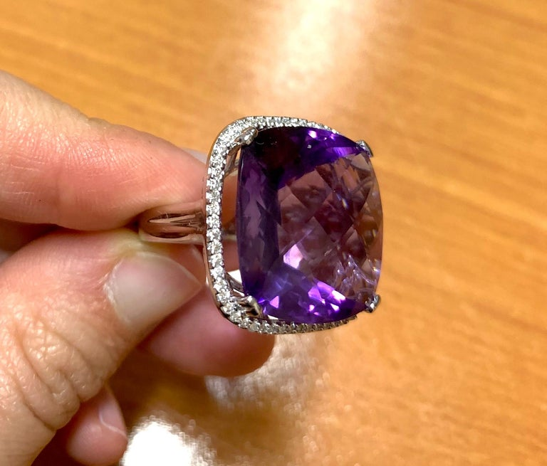 Contemporary Large Cushion Cut Amethyst Cocktail Ring For Sale
