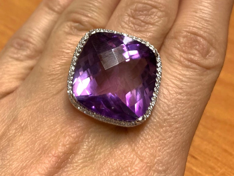 Women's or Men's Large Cushion Cut Amethyst Cocktail Ring For Sale