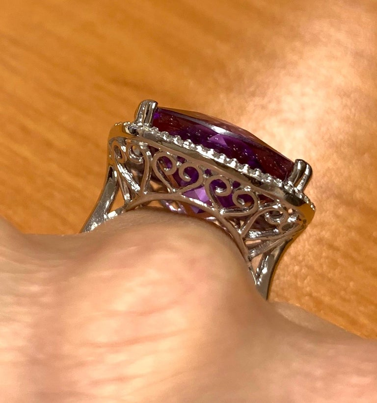 Large Cushion Cut Amethyst Cocktail Ring For Sale 1