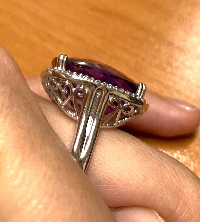 Large Cushion Cut Amethyst Cocktail Ring For Sale 2