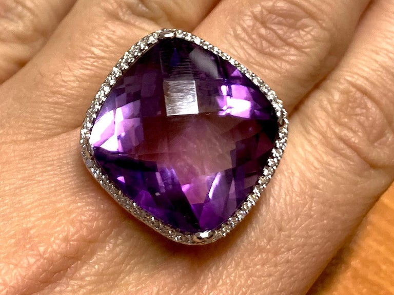 Large Cushion Cut Amethyst Cocktail Ring For Sale 3