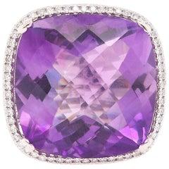 23.25 Carat Amethyst and Diamond Ring