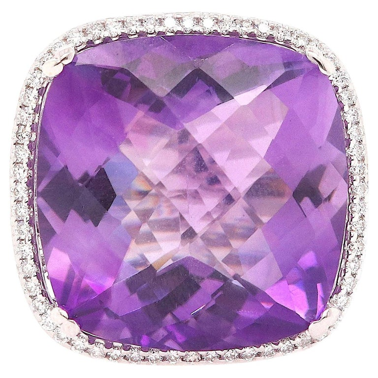 Large Cushion Cut Amethyst Cocktail Ring For Sale