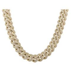 23.27 Carat Diamond Pave Cuban Link Necklace 14 Karat in Stock